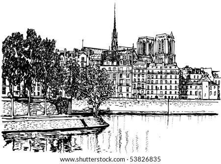vector illustration of paris