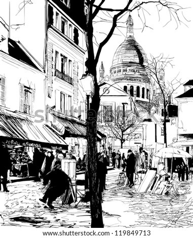 vector illustration of Paris Montmartre in winter