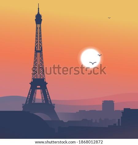 Vector illustration of Paris. Sunrise or sunset in Paris. Orange sky of Paris. The Eiffel tower and the roofs of Paris. Printed illustration-graphic vector pattern for banner, poster, postcard design.