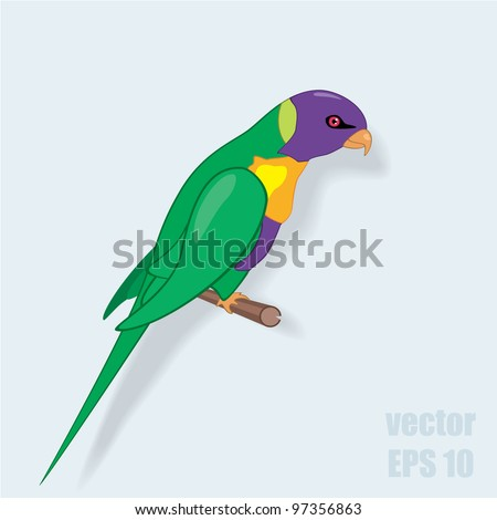 Vector illustration of parrot on a perch