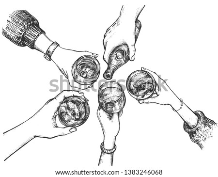 Vector illustration of party and celebration set. Company drinking alcohol at bar, female and male hands holding glasses with drinks, bottle with beer cheers clinking. Vintage hand drawn style.