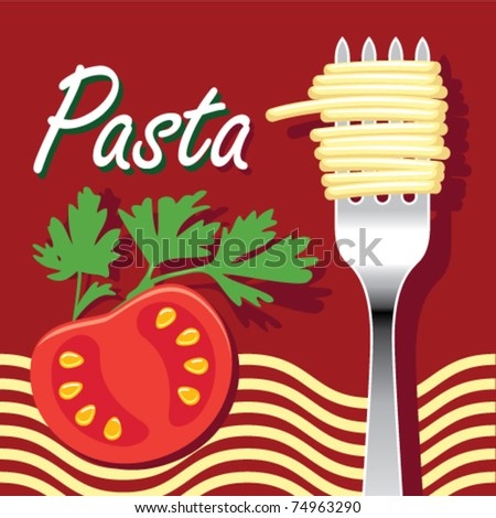 Vector illustration of pasta and tomato