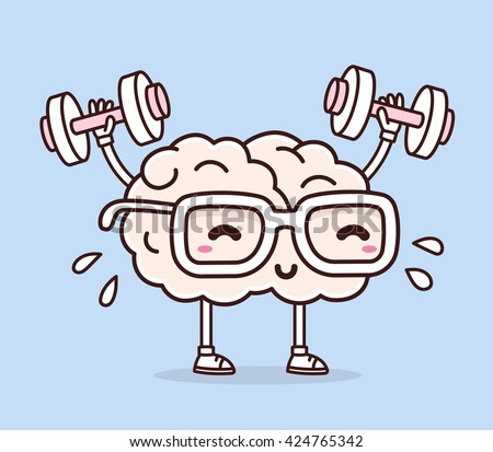 Vector illustration of pastel color smile pink brain with glasses lifts with dumbbells on blue background. Fitness cartoon brain concept. Doodle style. Thin line art flat design of brain for sport
