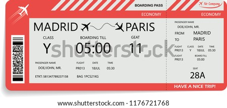 Vector illustration of pattern of airline boarding pass ticket in red colors. Concept of travel, journey or business trip. Isolated on white.