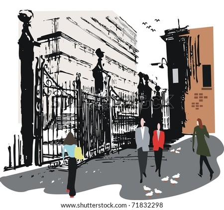 Vector illustration of pedestrians and old wharf gates, Wellington New Zealand