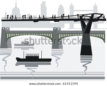 Vector illustration of pedestrians crossing city footbridge over Thames River, London, England.
