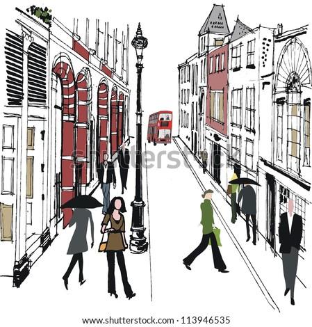 Vector illustration of pedestrians in old London street.