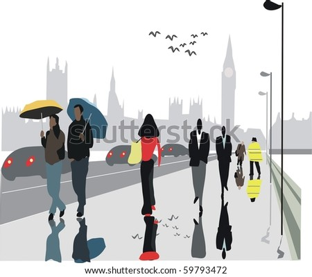 Vector illustration of pedestrians on Westminster Bridge, London with Big Ben in background.