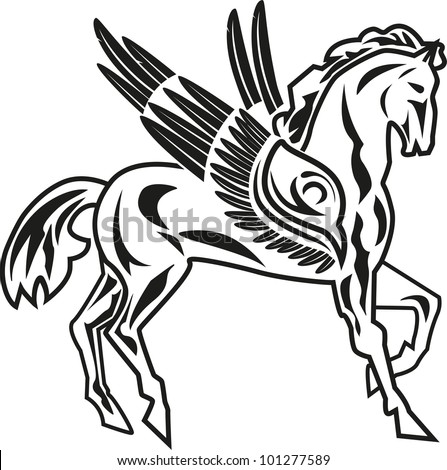 vector illustration of pegasus ( a horse with wings)