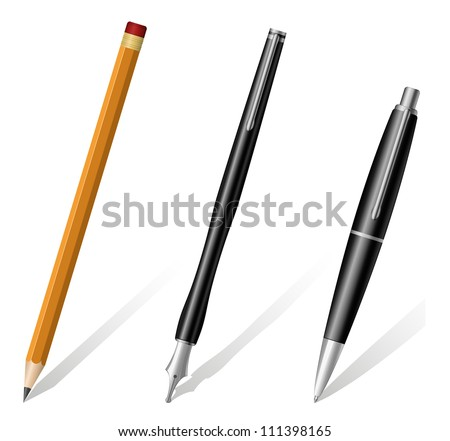 Vector illustration of pencil, pen and fountain pen icons