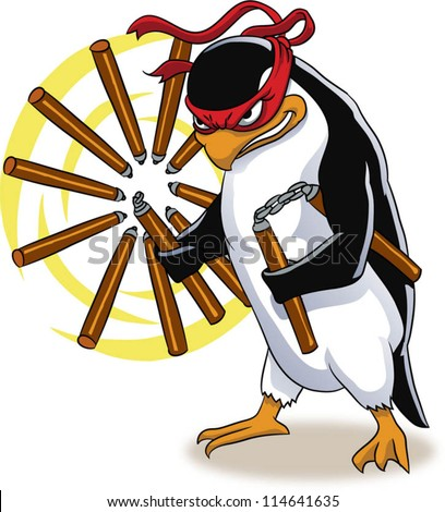 Vector illustration of penguin ninja
