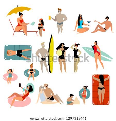 Vector illustration of people at beach or seashore relaxing and performing leisure outdoor activities - sunbathing, reading books, talking, walking, surfing, or ocean. Flat cartoon vector illustration