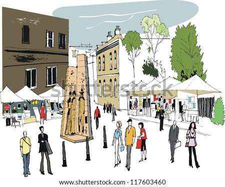 Vector illustration of people at The Rocks tourist attraction, Sydney Australia
