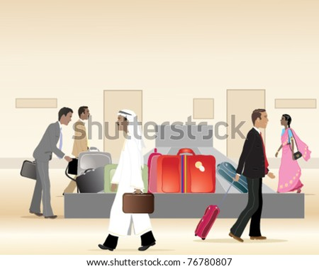 vector illustration of people collecting their luggage from an airport  baggage carousel in eps 10 format