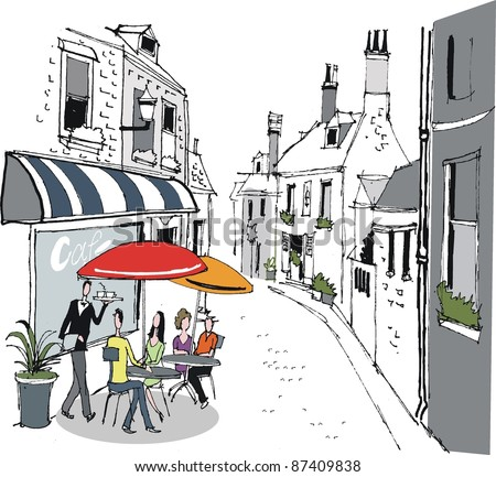 Vector illustration of people dining at sidewalk cafe in France. - stock vector