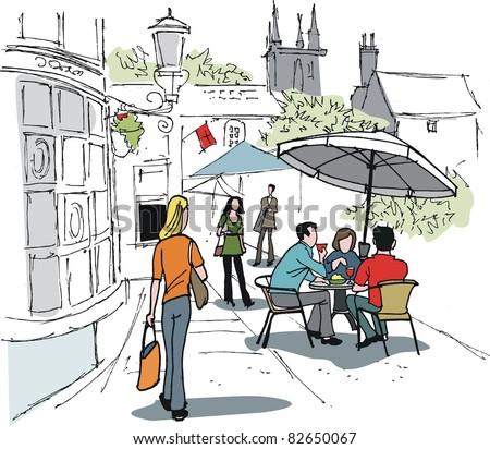 Vector illustration of people enjoying drinks outside hotel - stock vector