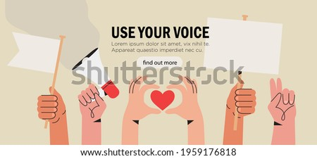Vector illustration of people holding signs, banner and placards on a protest demostration or picket. People against violence, pollution, descrimination, human rights violation. Stockfoto ©