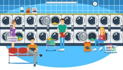 Vector illustration of people in a launderette. Flat style