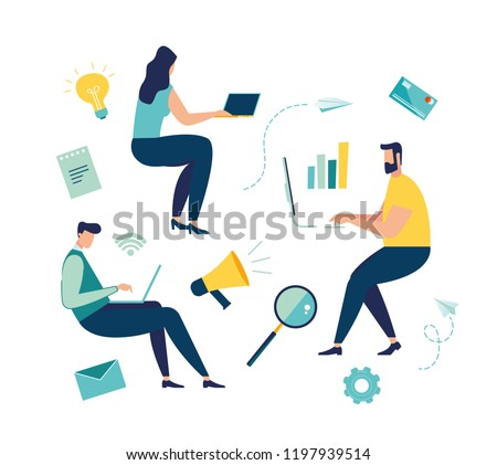 Vector illustration of people in zero gravity at work, business and document management, team thinking and brainstorming. Analytics information about the company