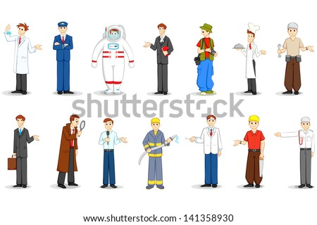 Vector illustration of people of different profession stock vector