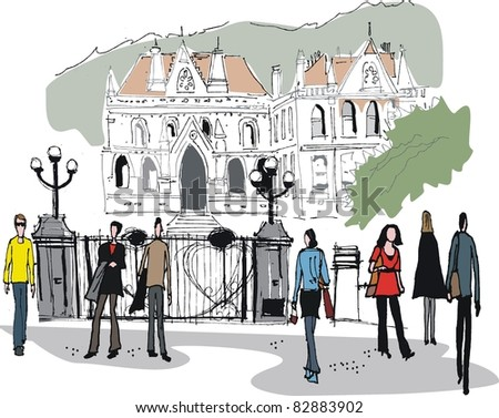 Vector illustration of people outside old buildings, Wellington New Zealand