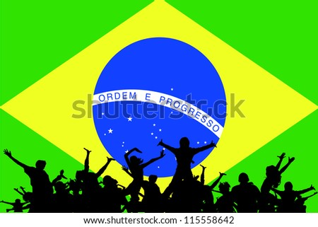 Vector Illustration of people partying on the flag of Brazil