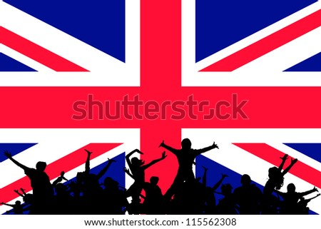 Vector Illustration of people partying on the flag of United Kingdom