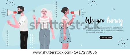 Vector illustration of people shouting in loud speaker and recruiting new employees, workers. We are hiring or job recruitment banner, poster, flyer or landing page concept for ui, web or mobile app.