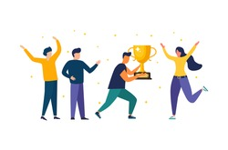 Vector illustration of people standing on the podium. The award ceremony, the prize for the best ball. The concept of teamwork. and achieving goals and rewards Business results