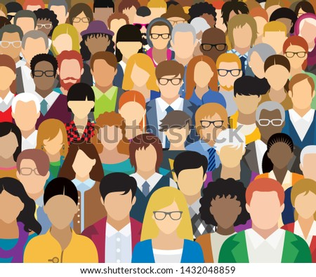 Vector illustration of people with different characteristics. Each character is individual and is not repeated in the illustration.