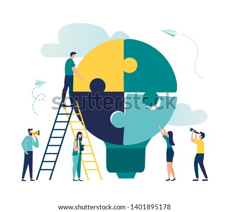 Vector illustration of people with lightbulb puzzle, business concept. Team metaphor. people connecting puzzles