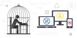 vector illustration of person sitting with computer in cage and social media restrictions