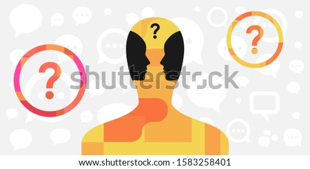 vector illustration of person with two faces inside for inner dialog and psychological conflict visual ストックフォト ©