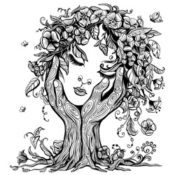 Vector illustration of philosophy, symbol of life, female psychology. A woman's face in the form of a blossoming tree in an embrace of hands. Mental health and psychotherapy concept.