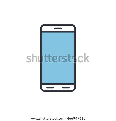 Vector Illustration Of Phone Icon. Mono Color Image In Modern Thin Line Design. Eps10 Format Sign For Web Graphics. Isolated On White Background.
