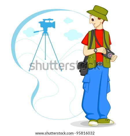 vector illustration of photographer with camera
