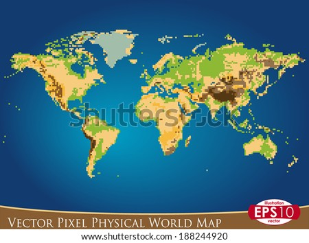 Free vector pixel world map download free vector art stock vector illustration of physical world map in pixel art style hand draw point by point gumiabroncs Images