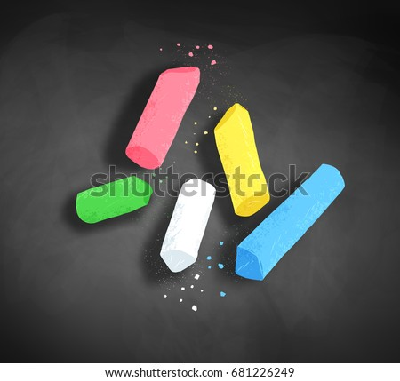 Vector illustration of pieces of chalk with shadow on blackboard background.