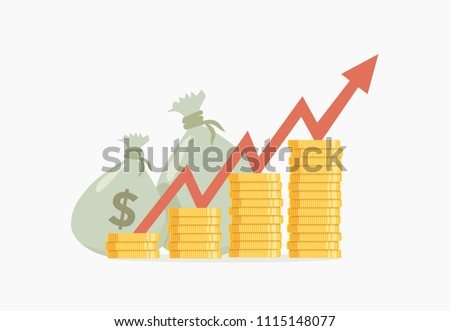 Vector illustration of pile coins and bags with money and growing arrow on transparent background, ready to use. Business concept.