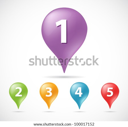 Vector illustration of pin pointer with number in different colors
