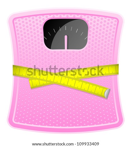 Vector illustration of  pink bathroom scale with measuring tape