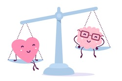 Vector illustration of pink color heart and human brain with glasses sit on the scales on white background. The heart outweighs the brain concept. Doodle style. Flat style design of heart and brain