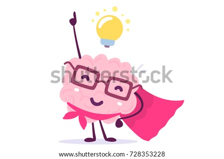 Vector illustration of pink color human brain with glasses as a super hero and light bulb on white background. Inspiration cartoon brain concept. Doodle style. Flat style design of character brain