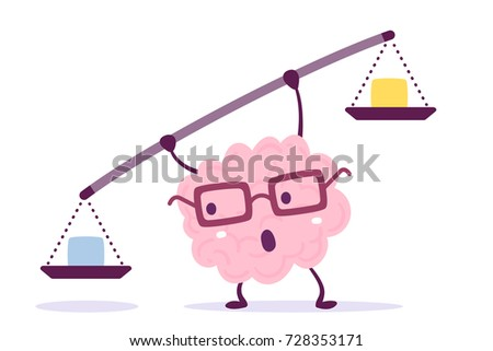 Vector illustration of pink color human brain with glasses holding a scales in hands on white background. Decision making cartoon brain concept. Doodle style. Flat style design of character brain