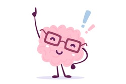Vector illustration of pink color human brain with glasses invented something on white background. Founding the answer cartoon brain concept. Doodle style. Flat style design of brain for education
