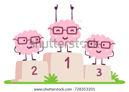 Vector illustration of pink color human brain with glasses stands on the winner pedestal on white background. The best cartoon brain concept. Doodle style. Flat style design of character brain