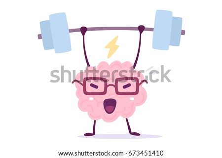 Vector illustration of pink color smile brain with glasses lifts weights on white background. Very strong cartoon brain concept. Doodle style. Flat style design of character brain for education theme