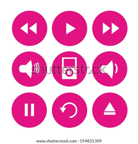 vector illustration of pink icons with signs