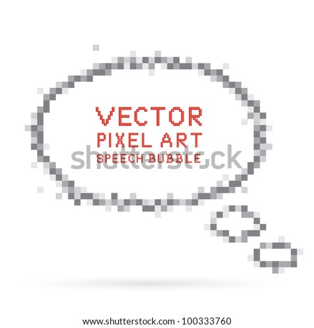 Vector illustration of pixel art speech bubble