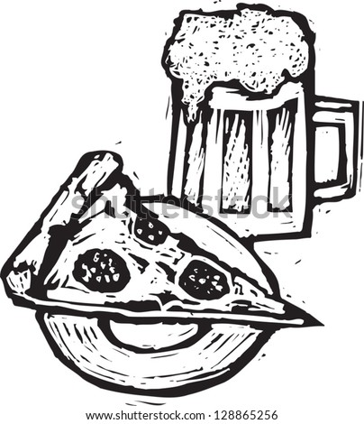 Vector illustration of pizza and beer